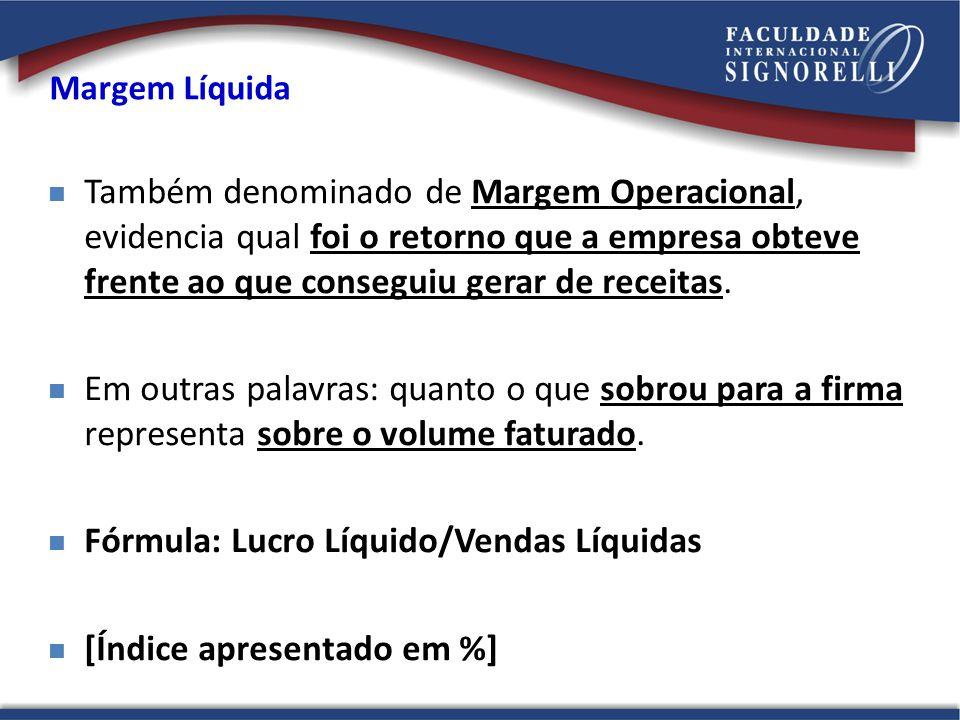 Fórmula: Lucro Líquido/Vendas Líquidas [Índice apresentado em %]